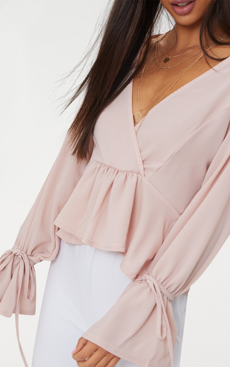 Blush Chiffon Deep Plunge Blouse  5