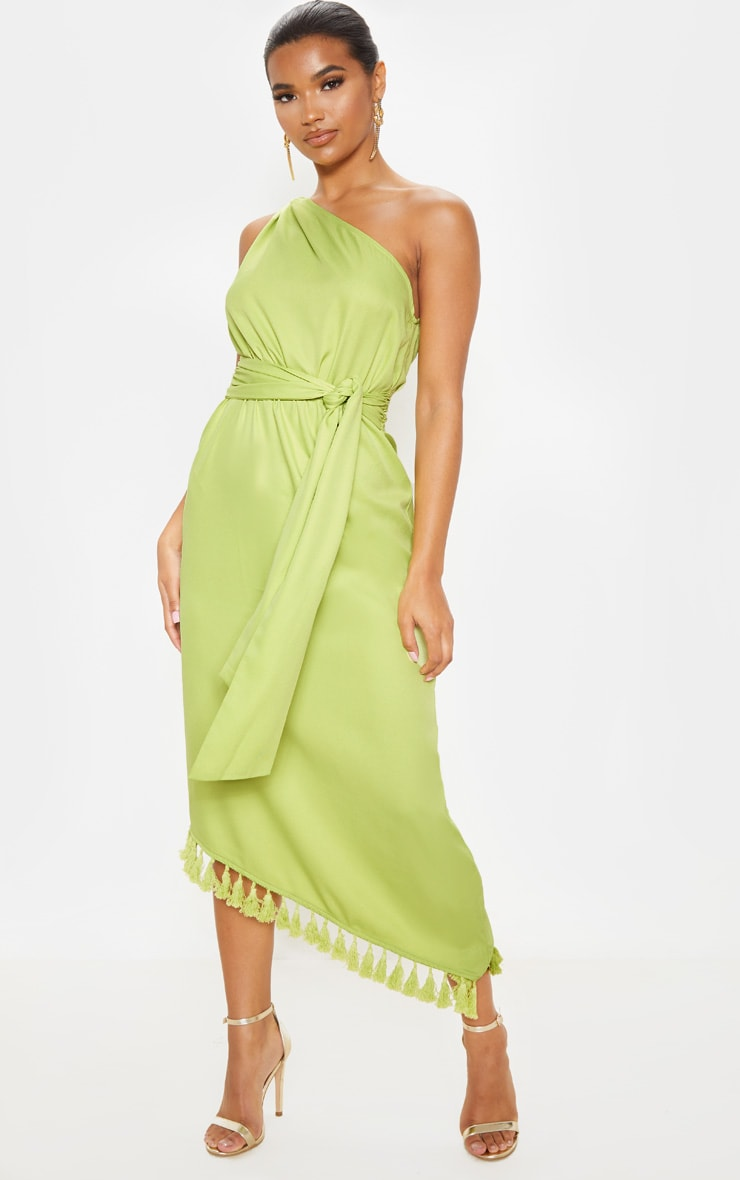 Lime One Shoulder Tassel Dress 1