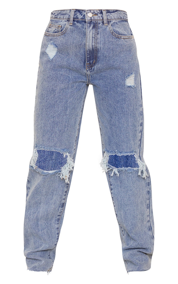PRETTYLITTLETHING Petite Vintage Wash Distressed Long Leg Straight Jeans 5