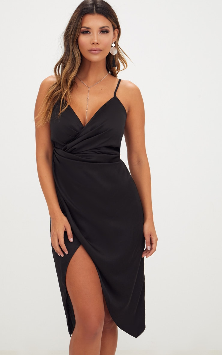 Black Satin Strappy Twist Front Midi Dress