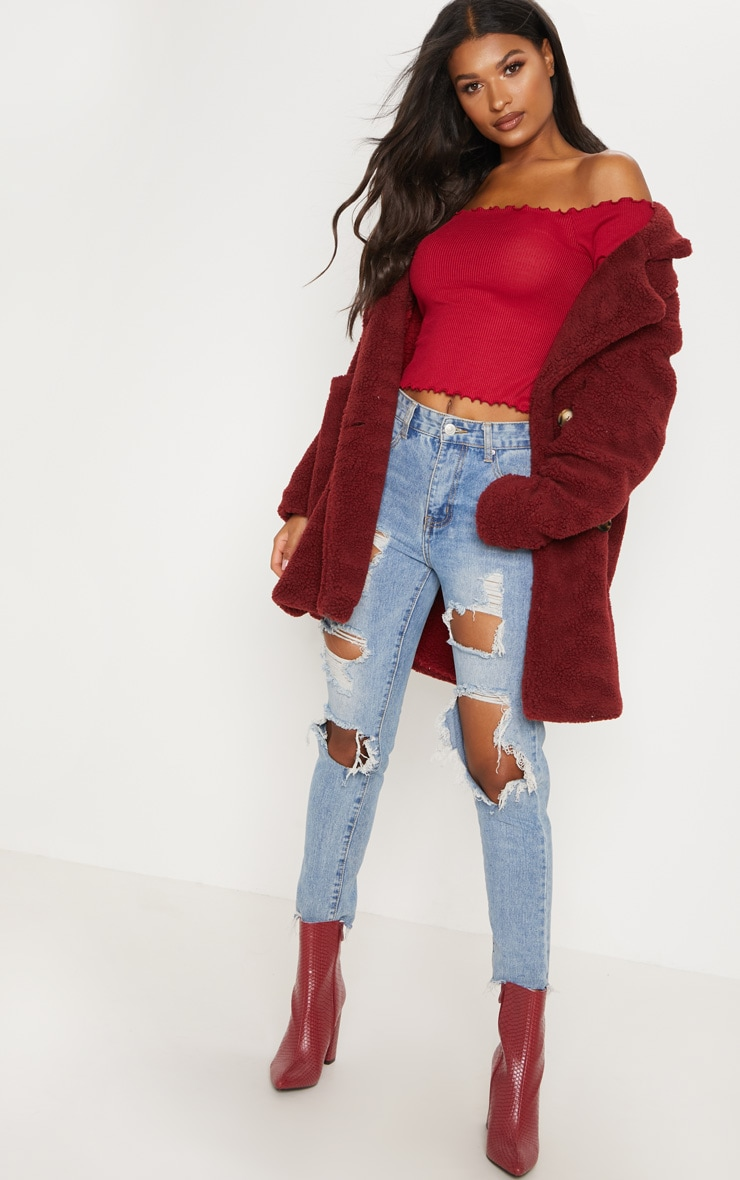 Raspberry Rib Long Sleeve Bardot Top