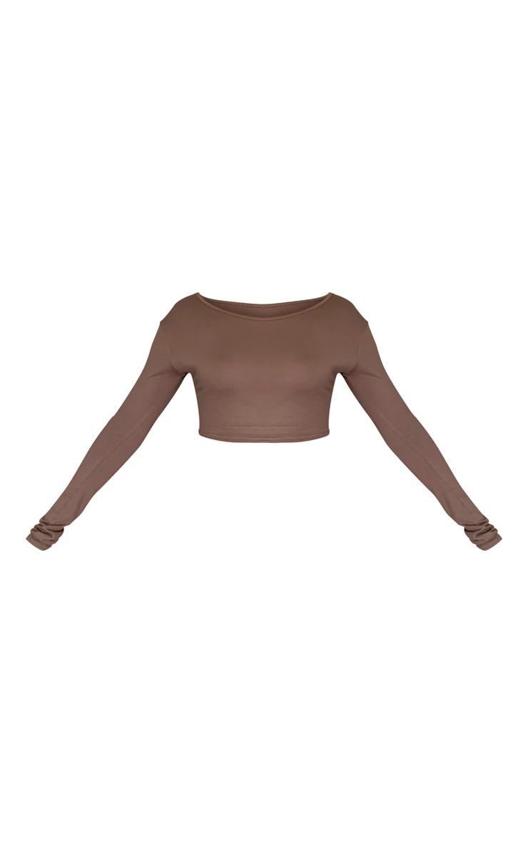 Basic Mocha  Jersey Long Sleeve Crop Top 5
