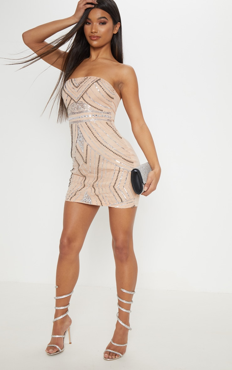 Nude Bandeau Sequin Pearl Embellished Bodycon Dress 4
