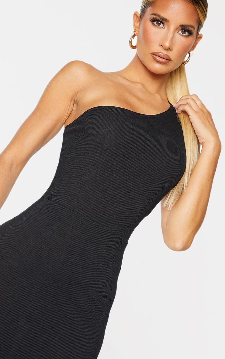 Black Ribbed One Shoulder Cut Out Back Detail Midi Dress 4