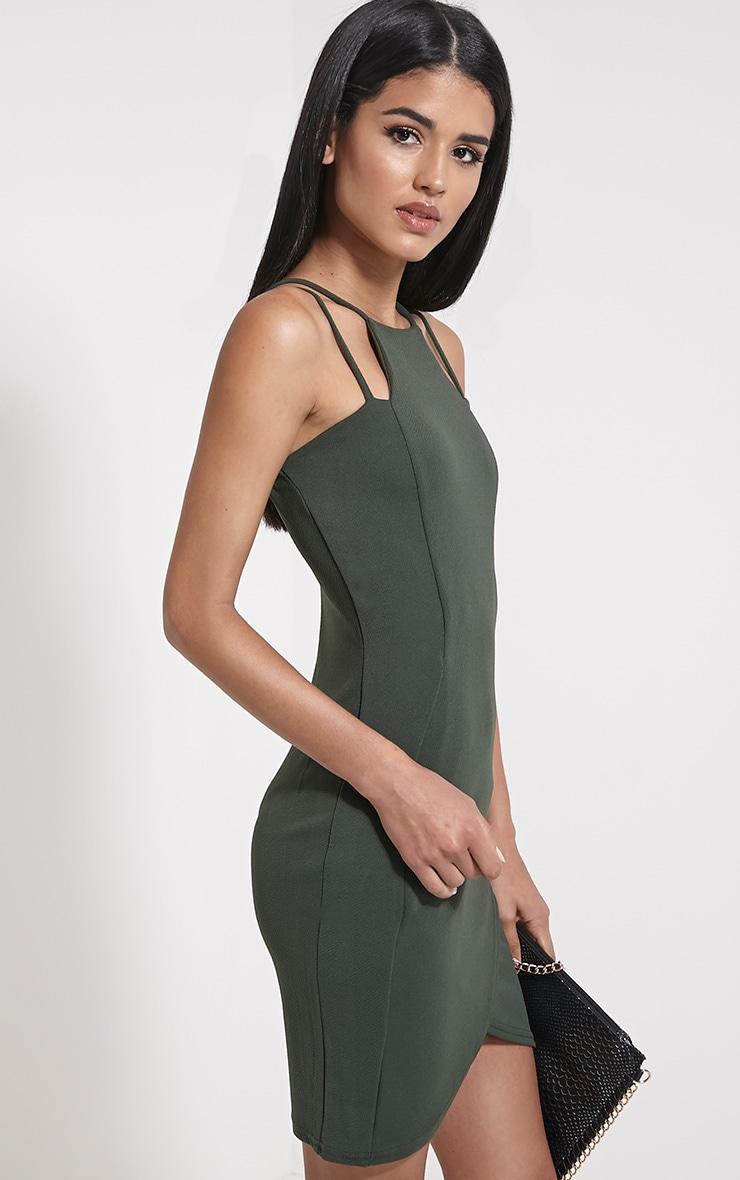 Ashleigh Khaki Crepe Curved Hem Mini Dress 4
