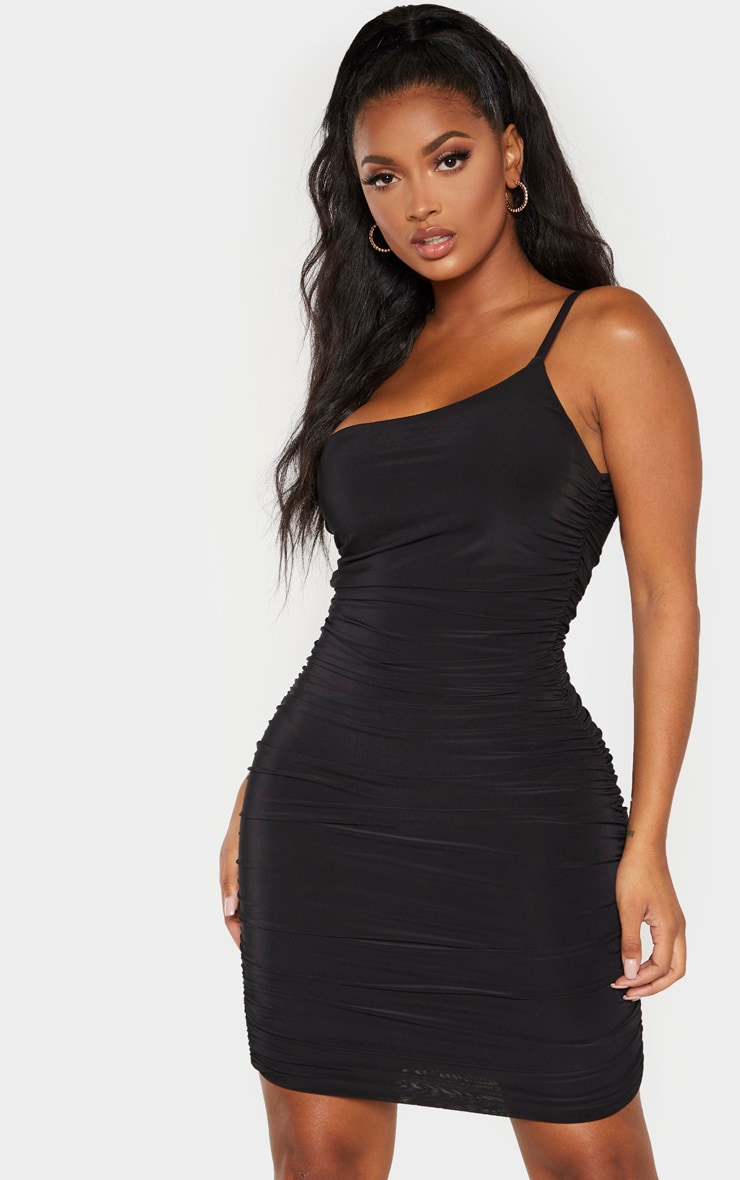 Shape Black Slinky Ruched Asymmetric Bodycon Dress 4