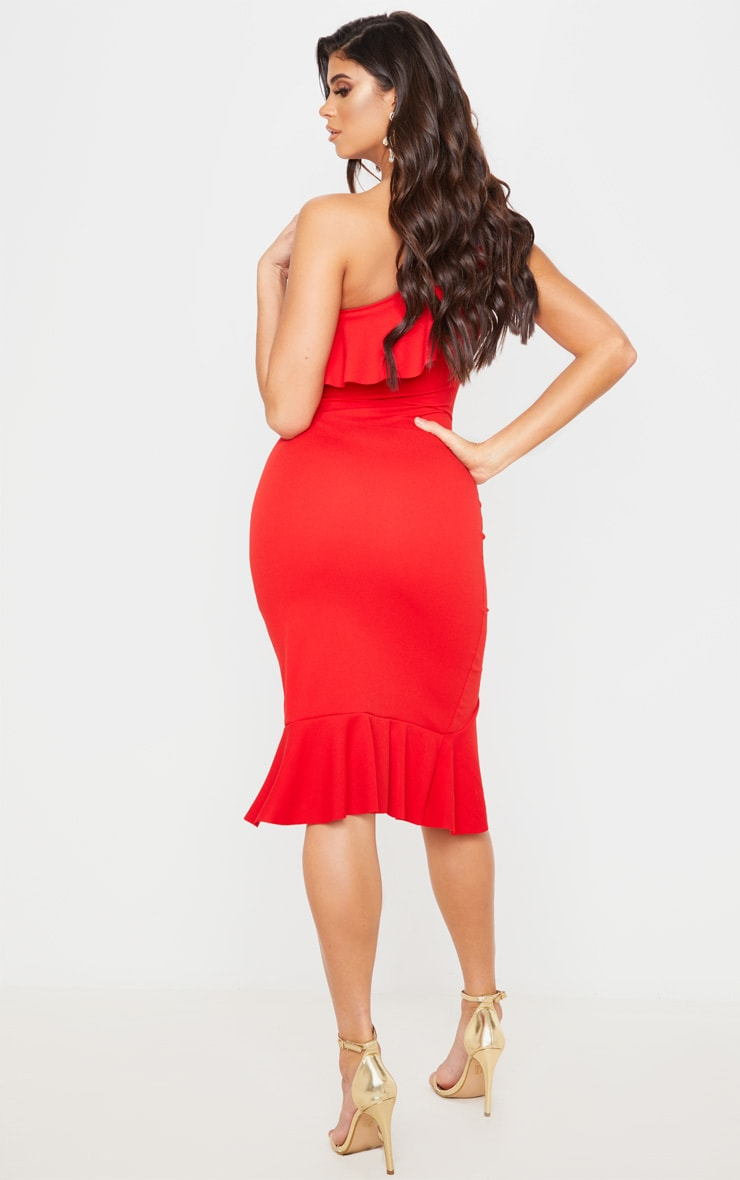 Red One Shoulder Ruffle Detail Midi Dress 2