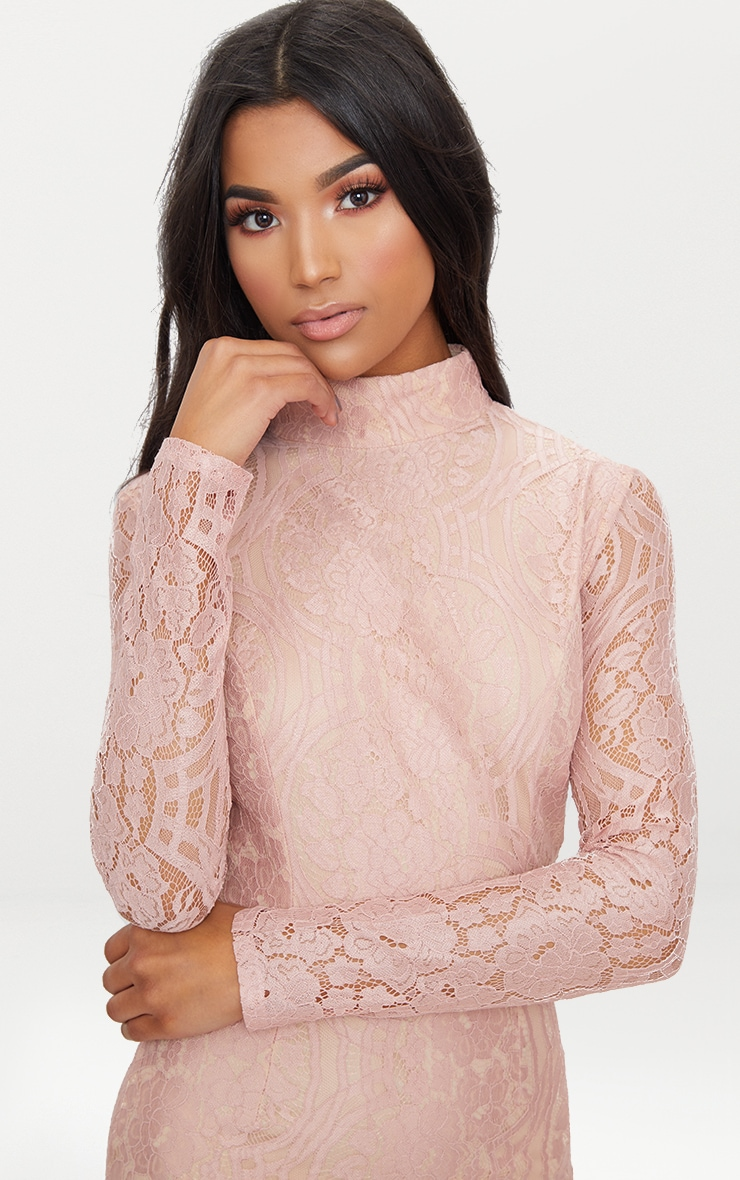 Dusty Pink High Neck Long Sleeve Lace Bodycon Dress  4