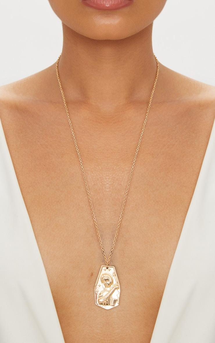 Gold Renaissance Ancient Plate Pendant Necklace 2