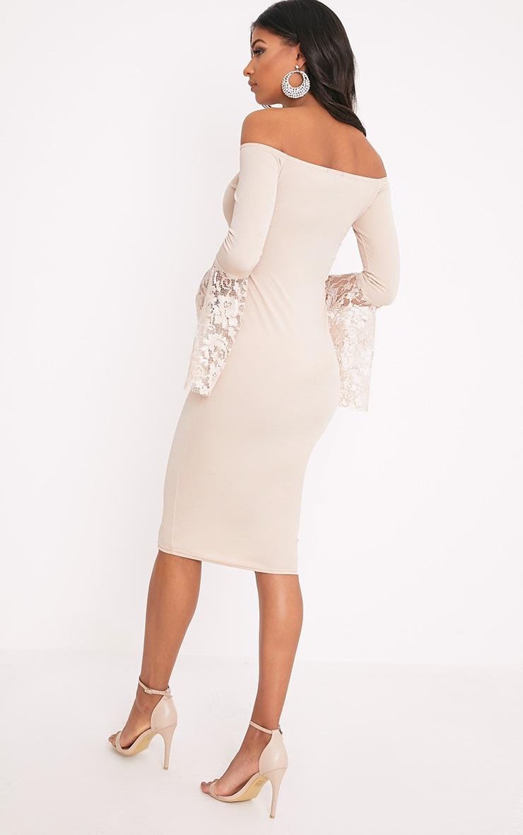 Tayler Nude Bardot Lace Flared Sleeve Midi Dress 2