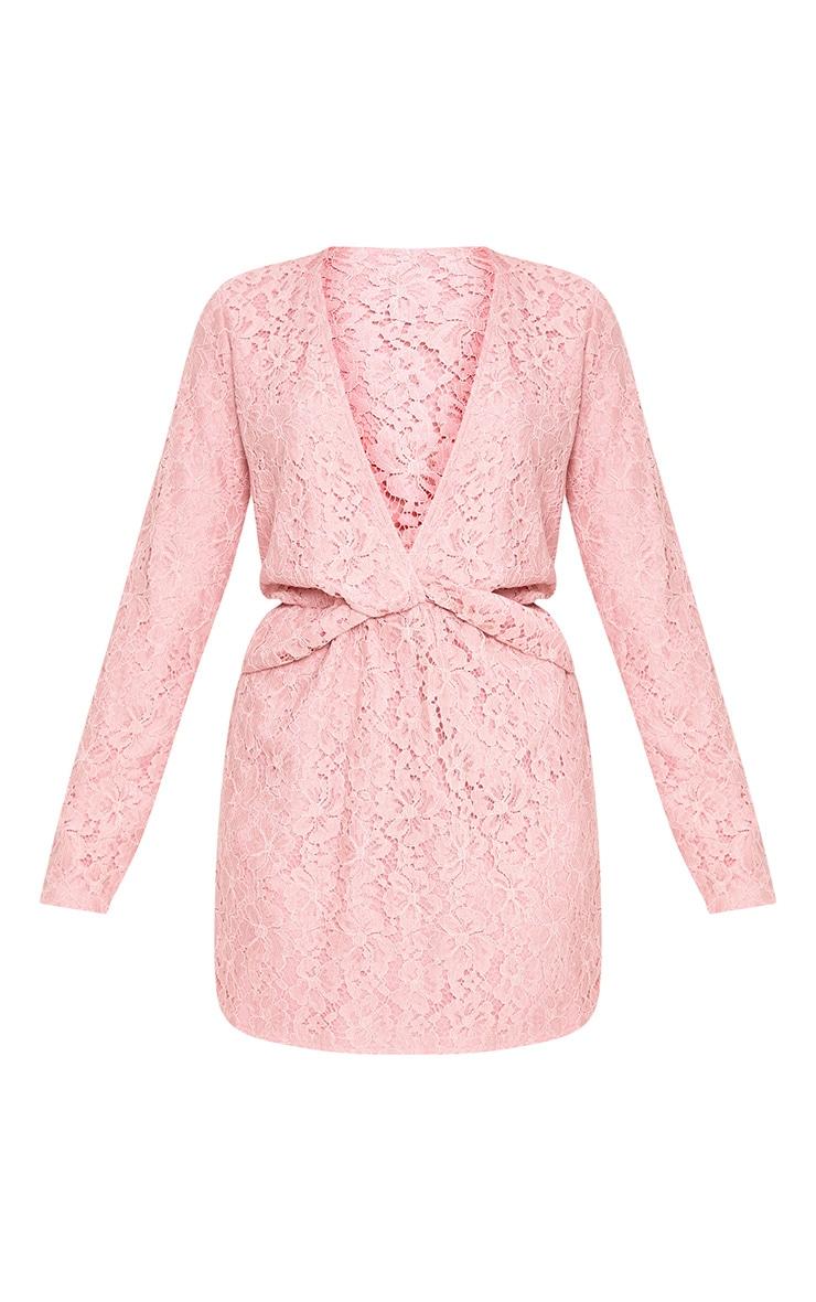 Dottie Dusty Pink Lace Twist Front Shift Dress 3