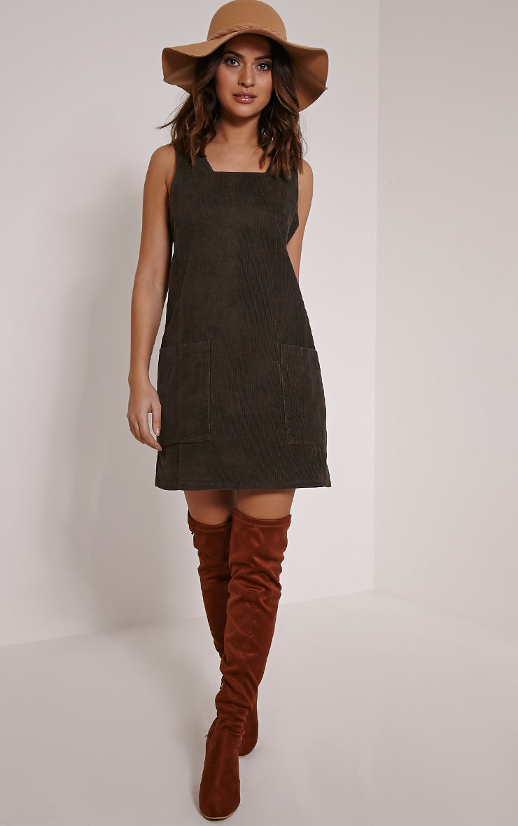 Staci Khaki Cord Pinafore Dress 2