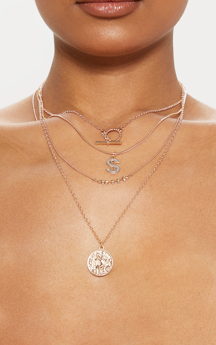 Gold Diamante Dollar Sign And Disc Multi-Layer Necklace 1