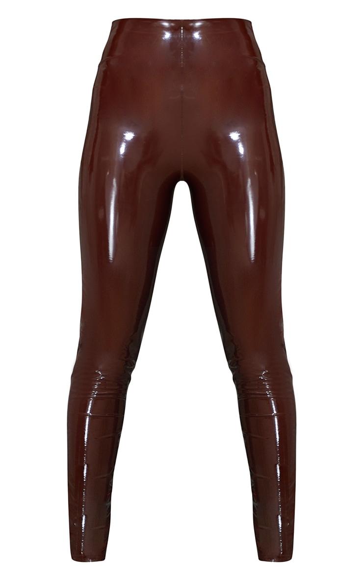Chocolate Vinyl High Waisted Skinny Trousers 5