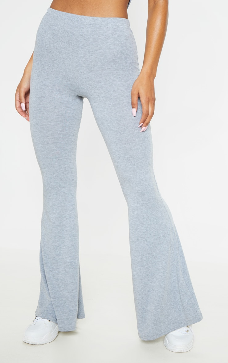 Grey Basic Jersey Flared Trouser 2