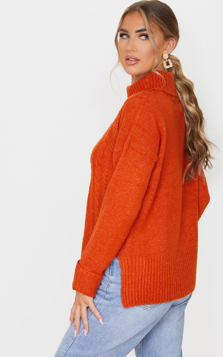 Orange Roll Neck Fluffy Cable Sweater 2