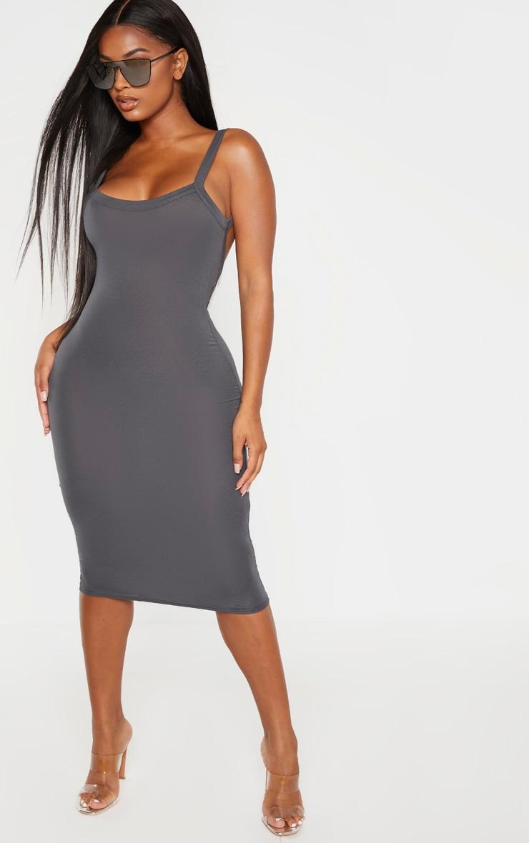 Shape Grey Jersey Scoop Back Midi Dress 1