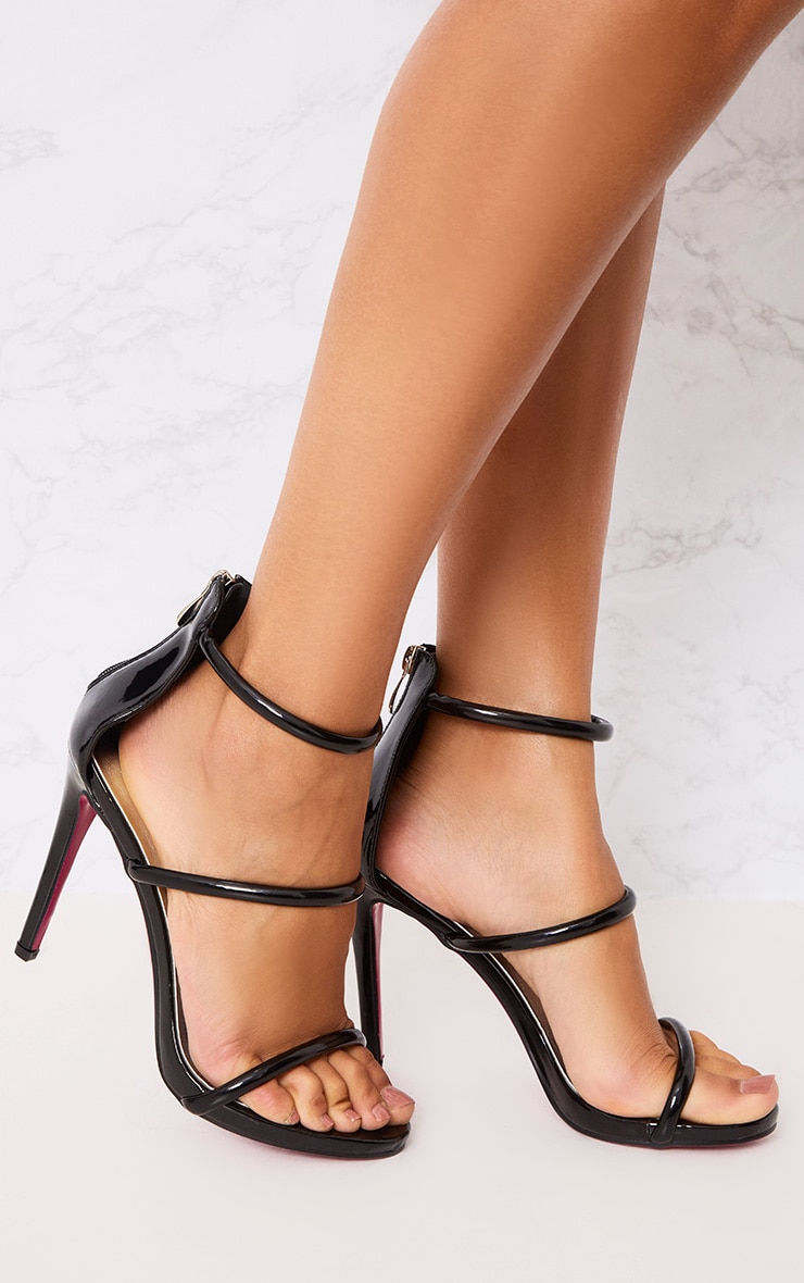 Marthea Black Tube Strap Heeled Sandals 1