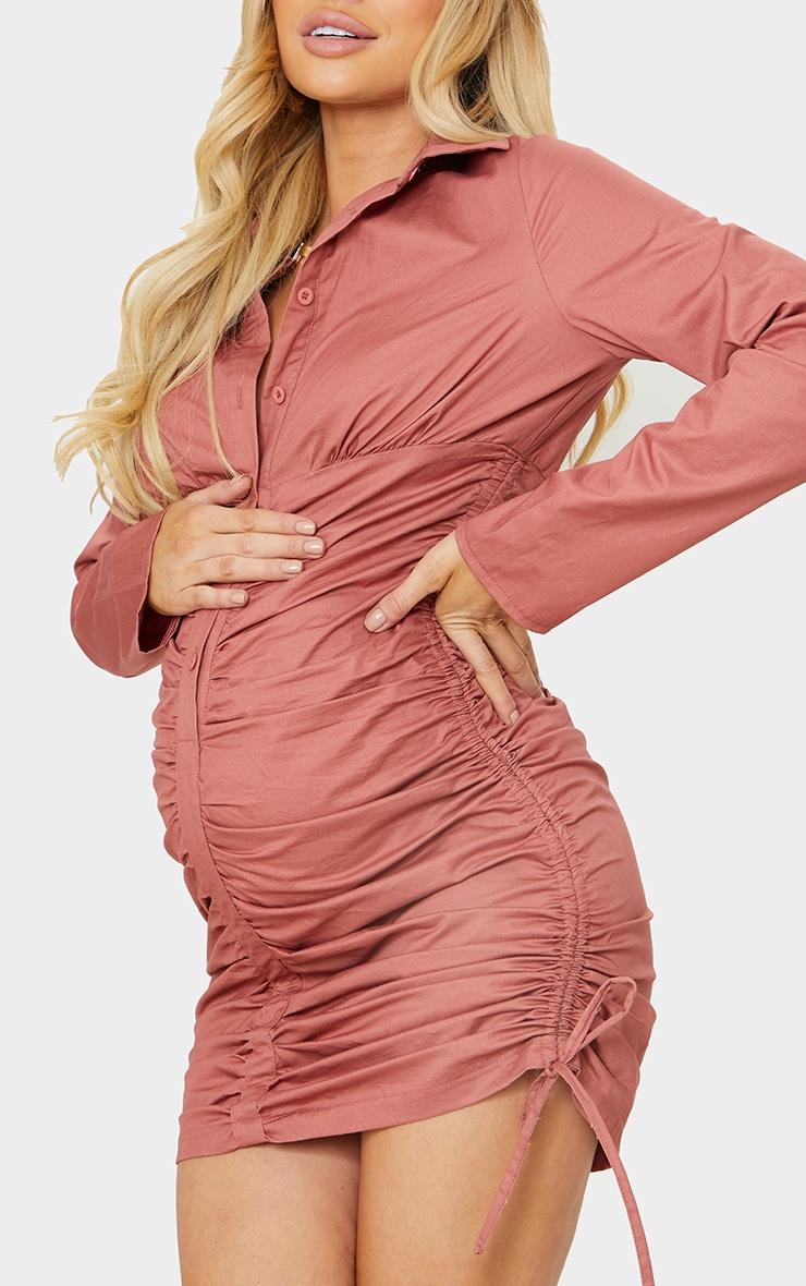 Maternity Rose Ruched Bump Shirt Dress 4