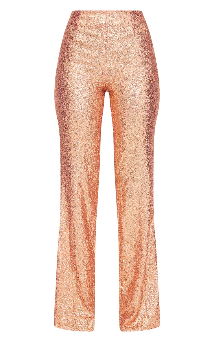 Rose Gold Sequin Wide Leg Trousers 3