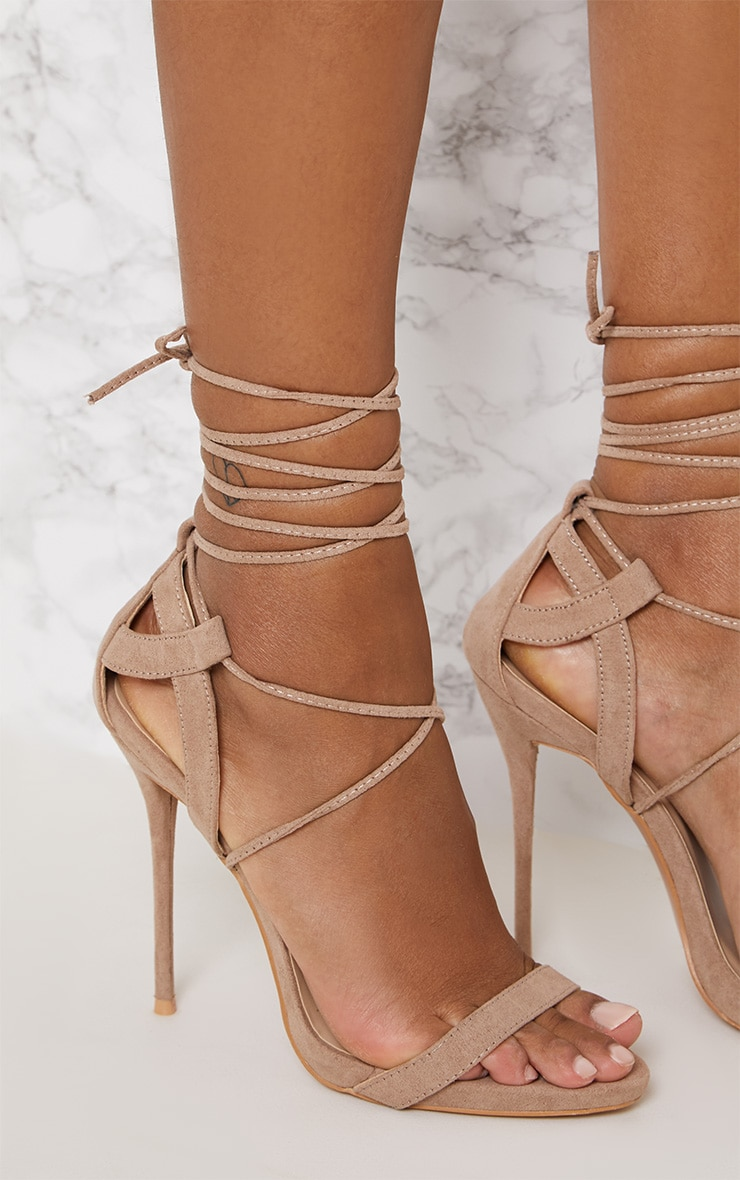 28ff1e69b1330 Taupe Lace Up Sandals
