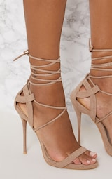 Taupe Lace Up Sandals 5
