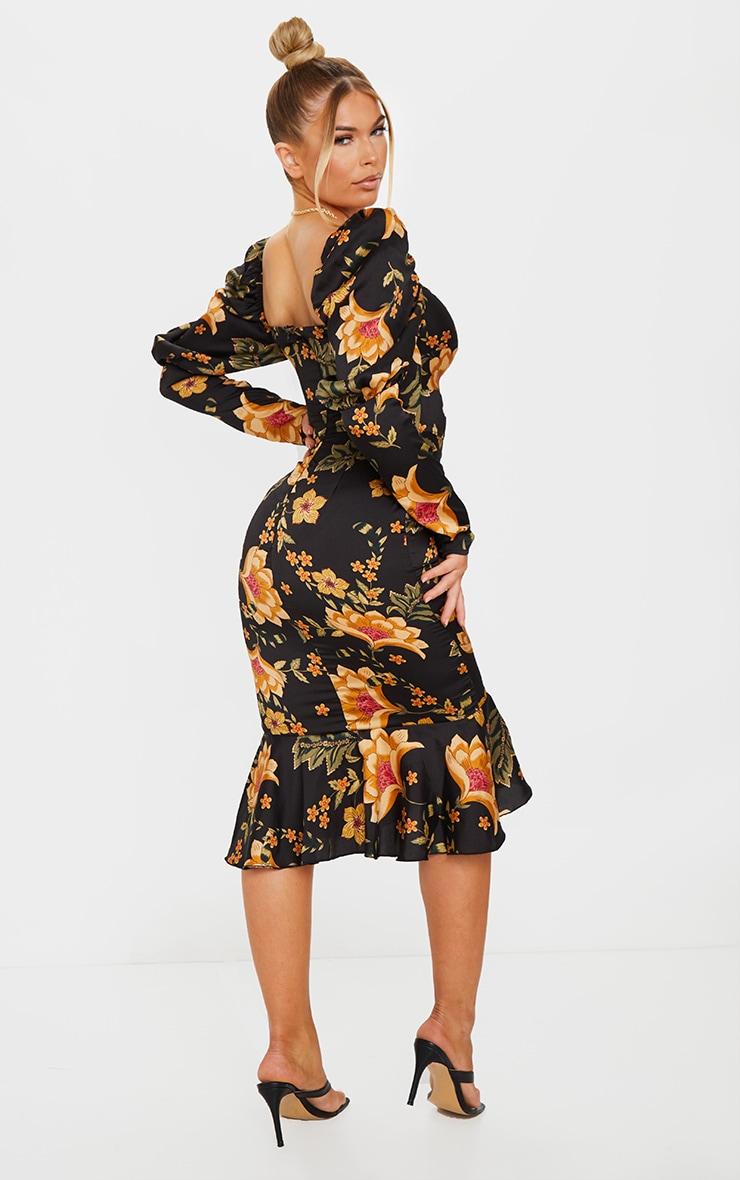 Black Floral Puff Sleeve Ruched Detail Frill Hem Midi Dress 2