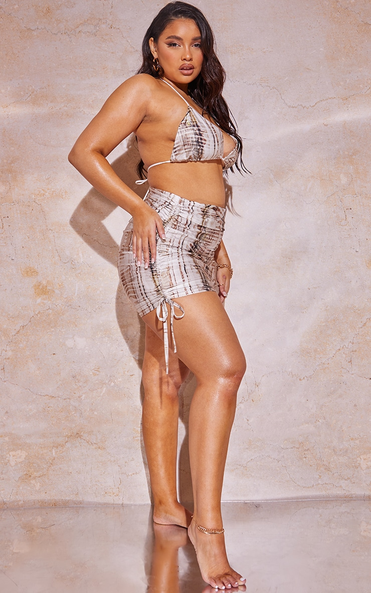 Plus Beige Textured Print Ruched Side Skirt 1