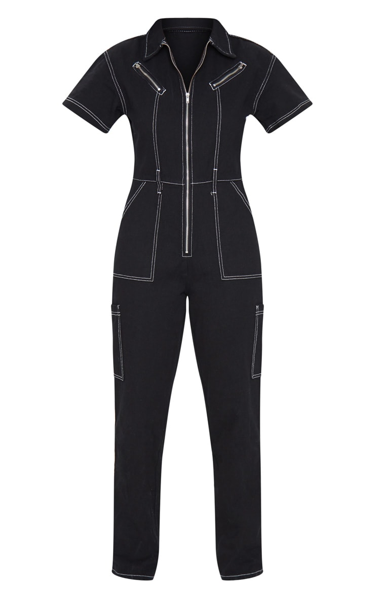 Black Contrast Stitch Denim Utility Boilersuit 5