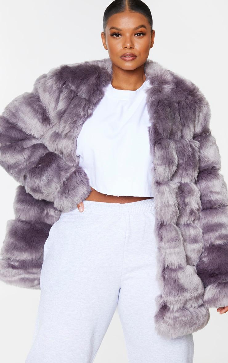Plus Grey Faux Fur Bubble Coat 3