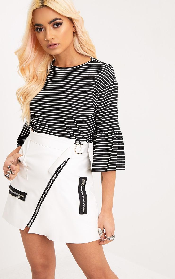 aa81f48c26 Odelle Black Stripe Frill Sleeve Jersey T-Shirt | Tops ...