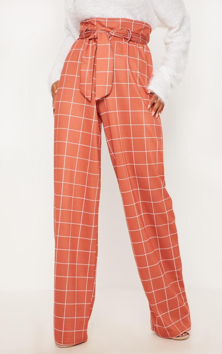 Rust Paperbag Waist Check Print Wide Leg Pants 2