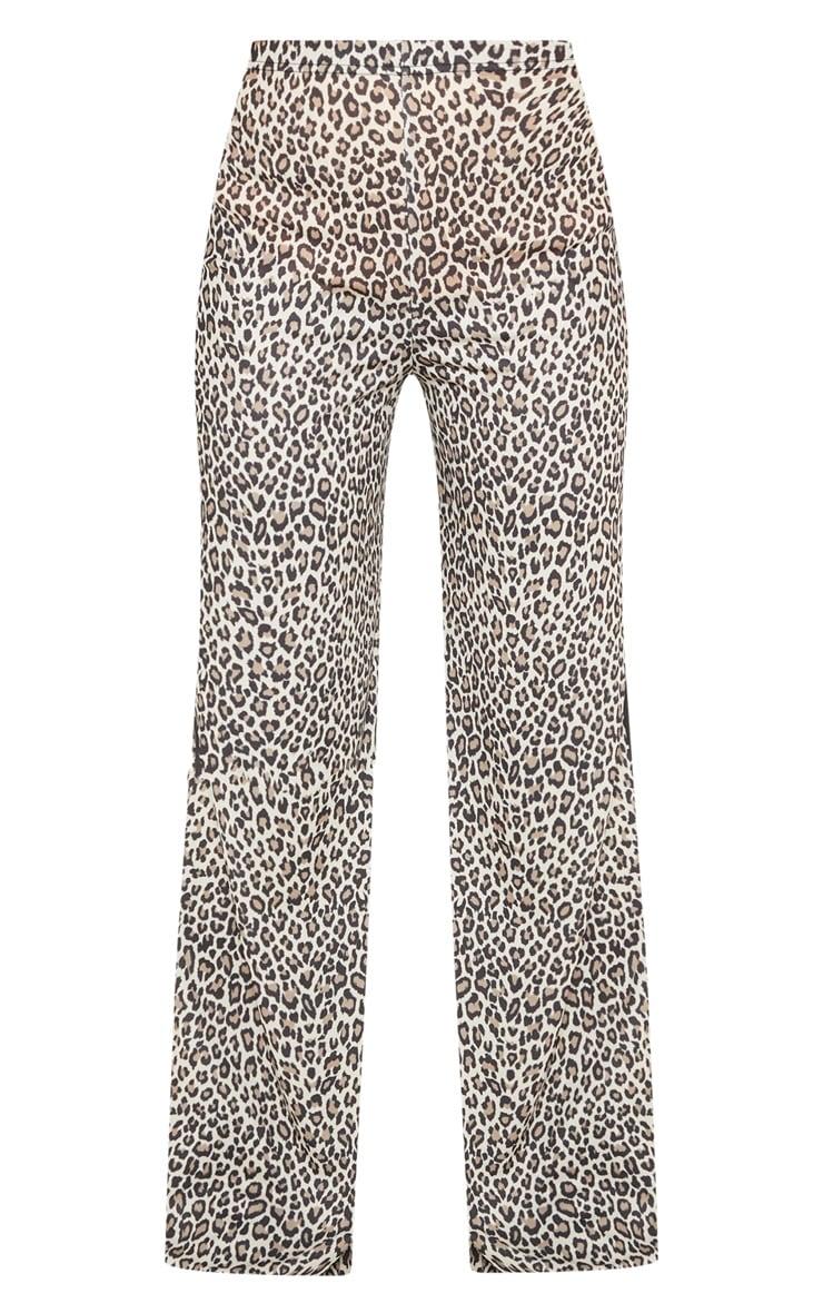 Stone Leopard Printed Contrast Side Stripe Wide Leg Pants 3