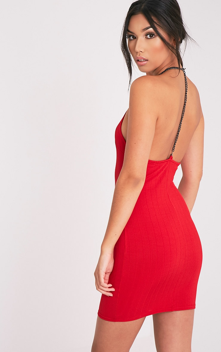 Amarnia Red Chain Back Betail Bodycon Dress 1