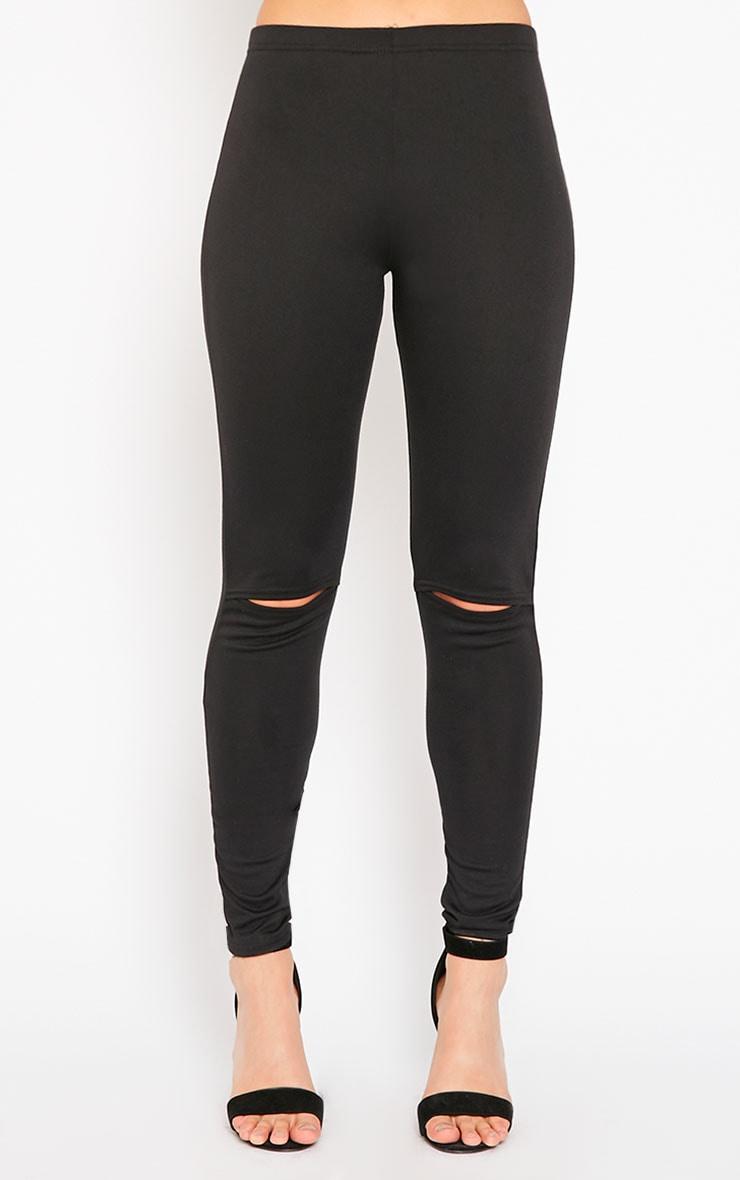 Claris Black Knee Ripped Leggings 2