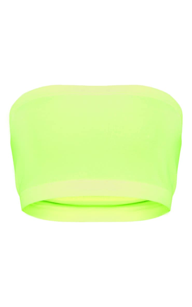 Shape Neon Yellow Slinky Bandeau Crop Top  3