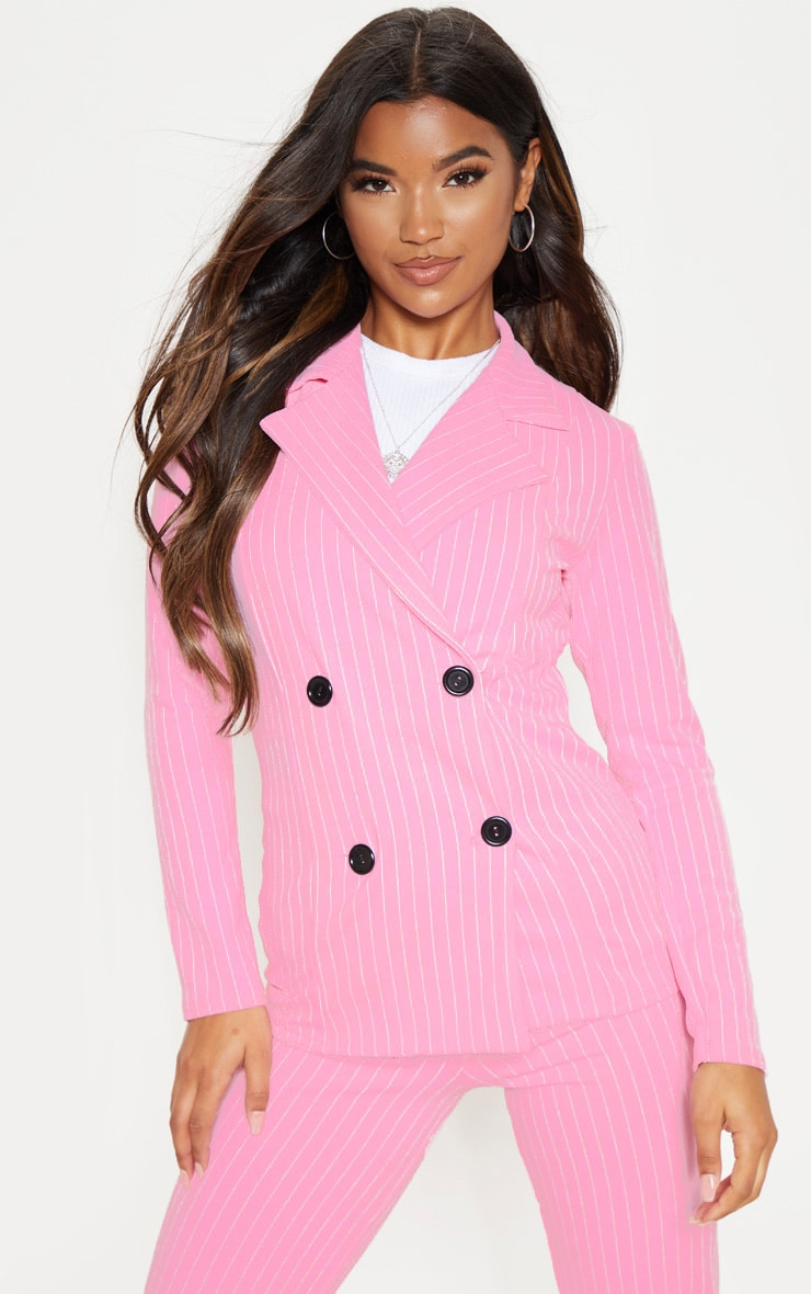 Pink Pinstripe Double Breasted Blazer 1