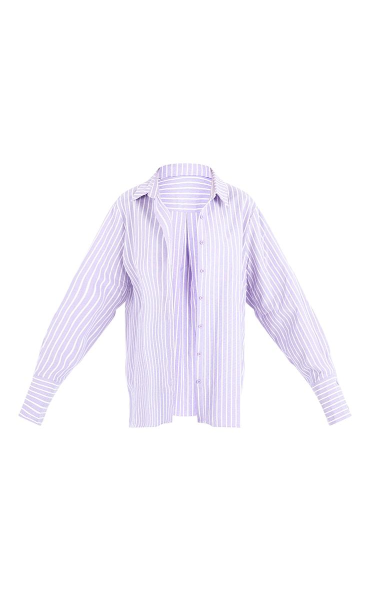 Lilac Oversized Pinstripe Cuff Shirt 5