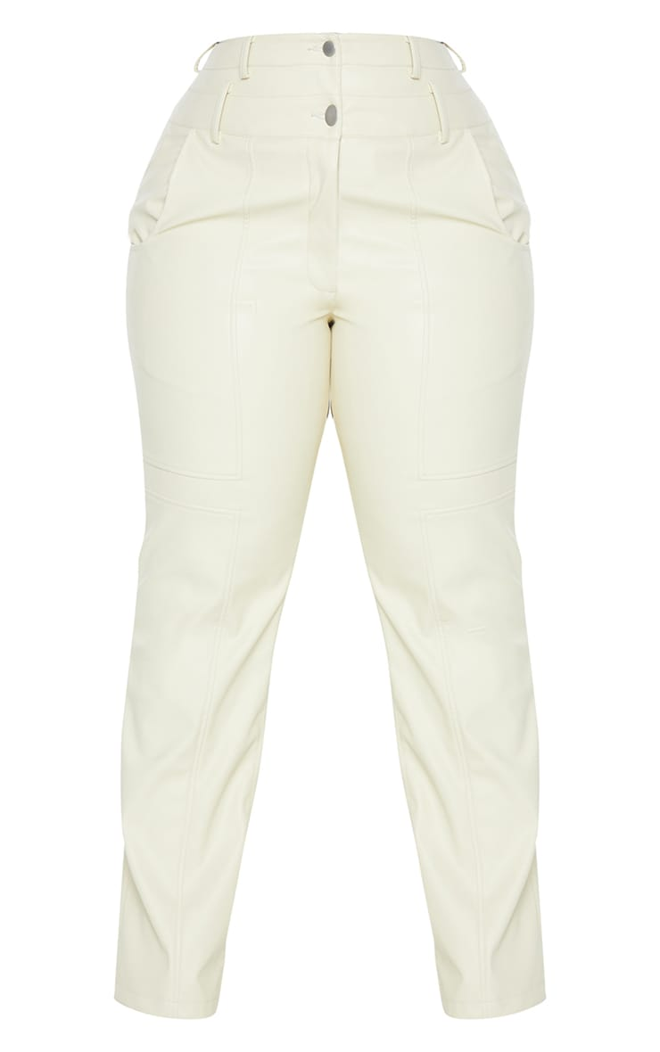 Plus Cream Faux Leather Double Waistband Straight Leg Trousers 5