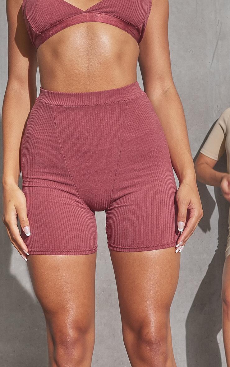 RENEW Washed Red Heavy Rib Seam Detail Hotpants 4