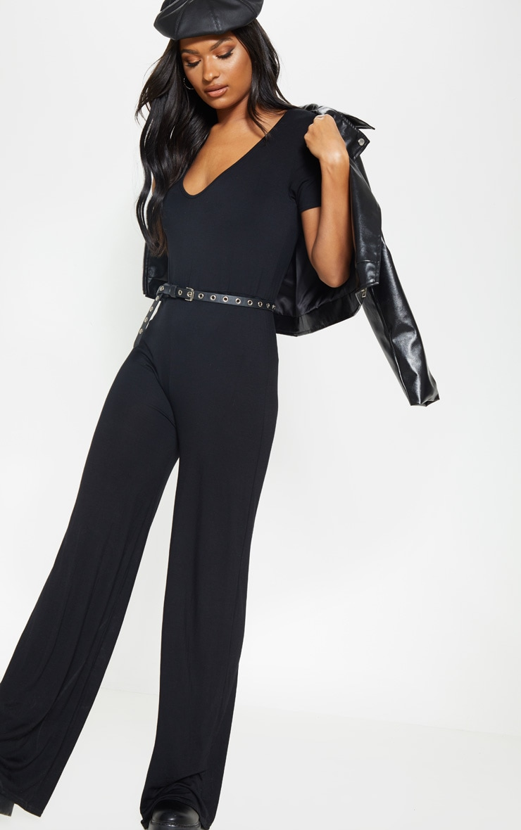 Black Jersey Wide Leg Jumpsuit 1