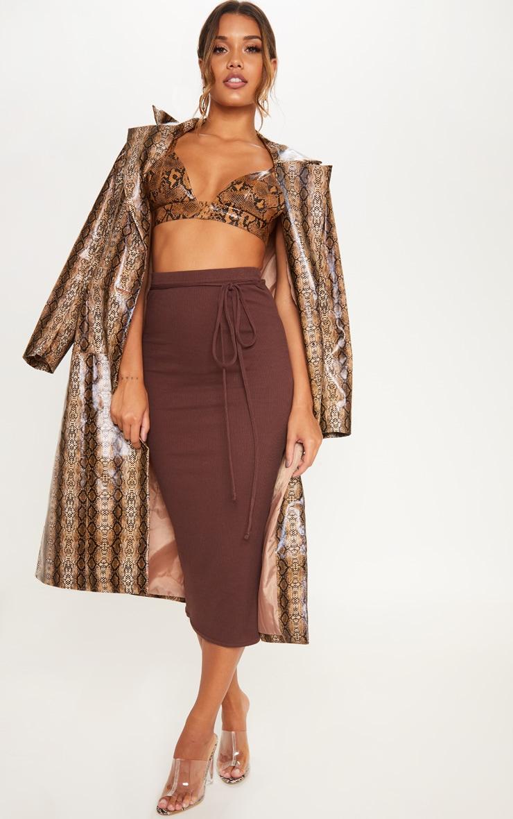 Chocolate Tie Detail Ribbed Midi Skirt 1