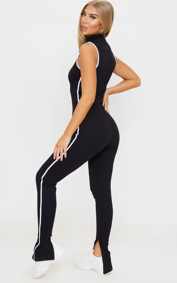Black Zip Detail Sports Stripe Sleeveless Jumpsuit 2