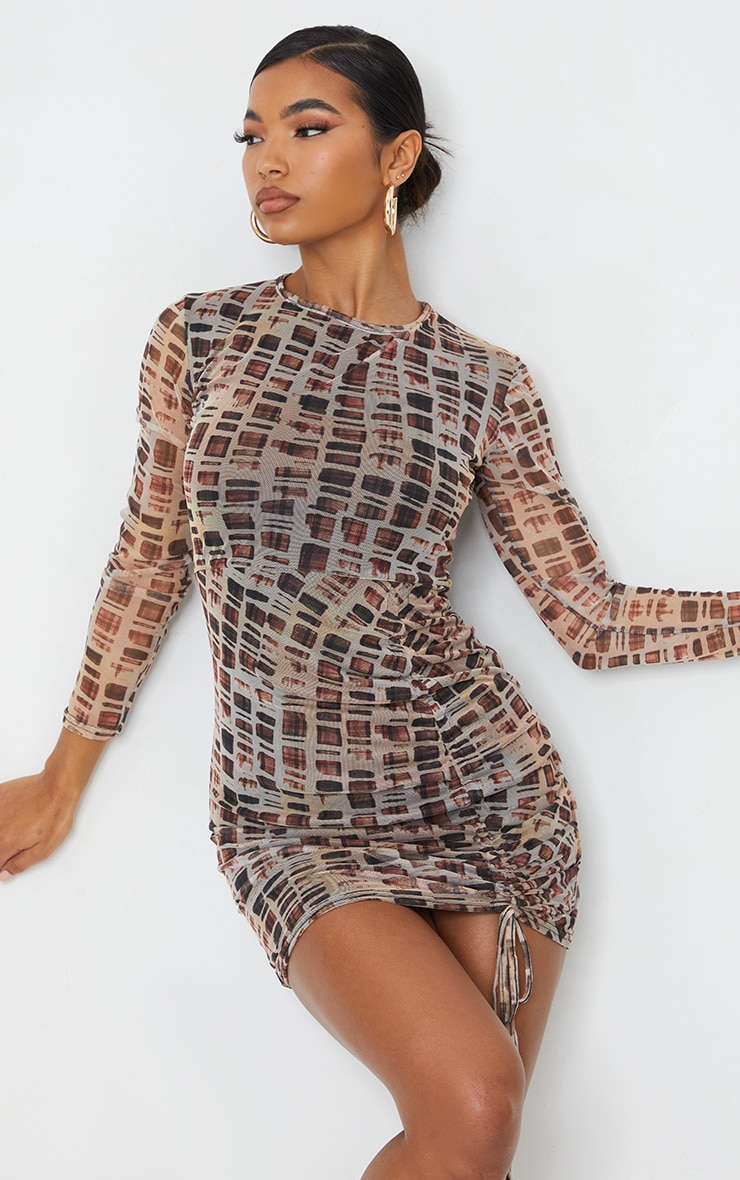 Nude Check Print Mesh Long Sleeve Ruched Skirt Bodycon Dress 3