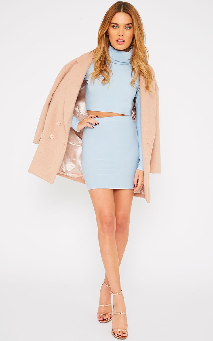 Emilia Powder Blue Crepe Roll Neck Crop Top  3