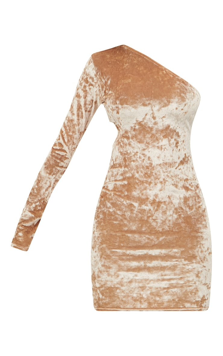 Petite Champagne Crushed Velvet One Shoulder Cut Out Dress 3