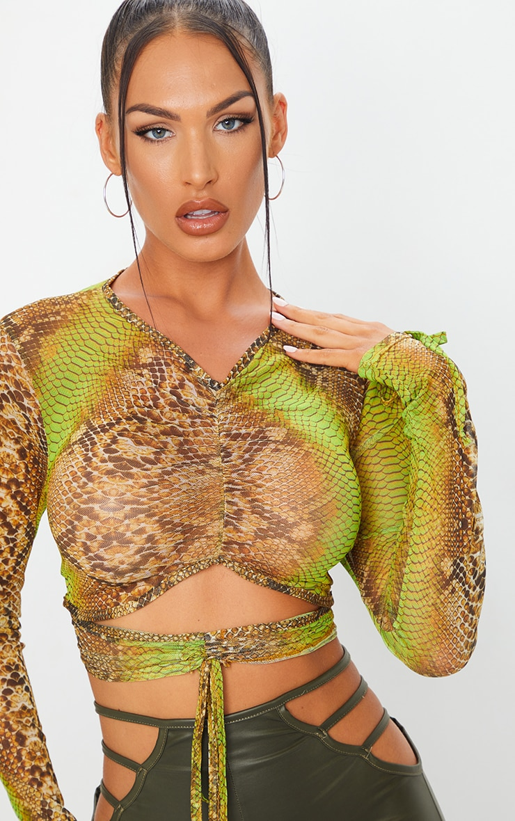 Green Mesh Snake Print Ruched Cut Out Top 4