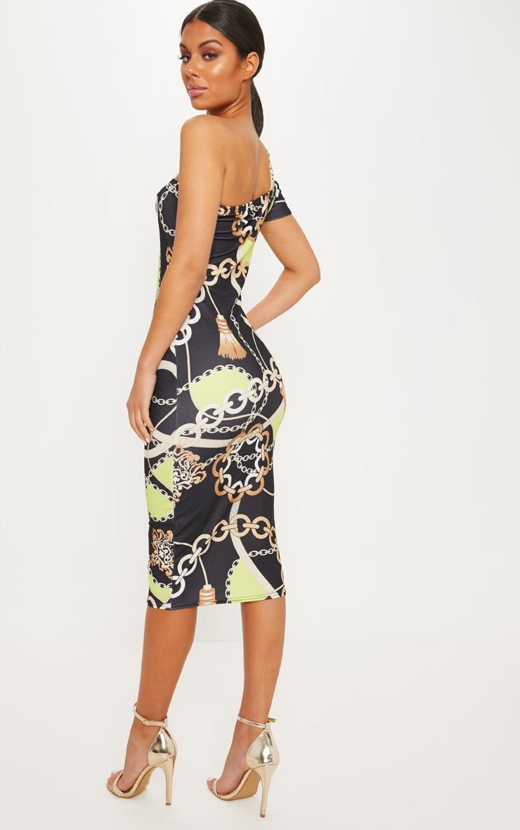 Black One Shoulder Chain Print Midi Dress 2