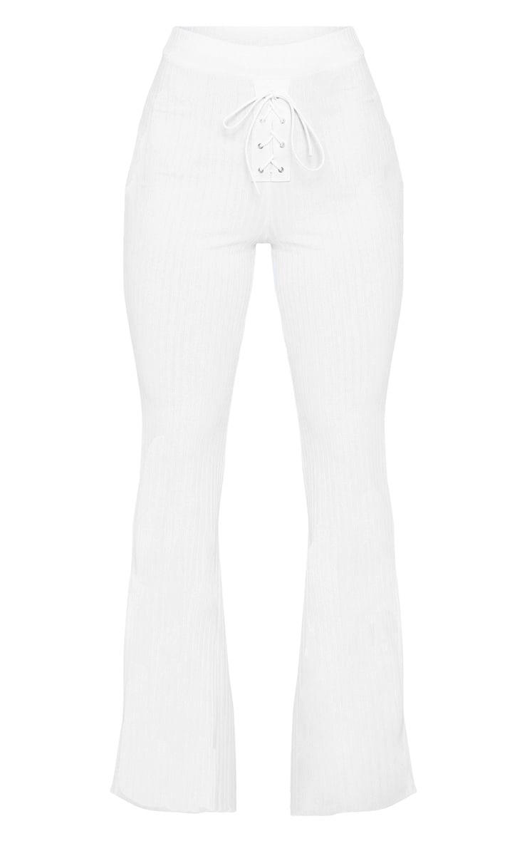 White Rib Lace Up Detail High Waisted Flare Leg Pants 3