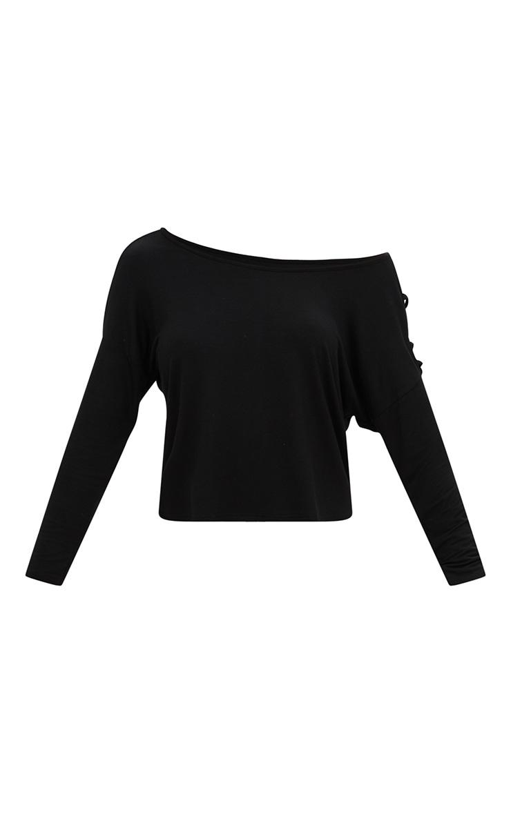 T-shirt en jersey noir épaule tombante 3
